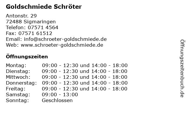 Goldschmiede Schröter Inh. Ruth Bösch Goldschmiedemeisterin in Sigmaringen: Adresse und Öffnungszeiten