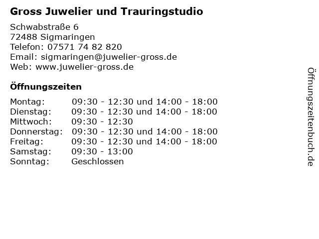 Gross Juwelier und Trauringstudio in Sigmaringen: Adresse und Öffnungszeiten