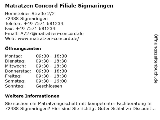 Matratzen Concord in Sigmaringen: Adresse und Öffnungszeiten