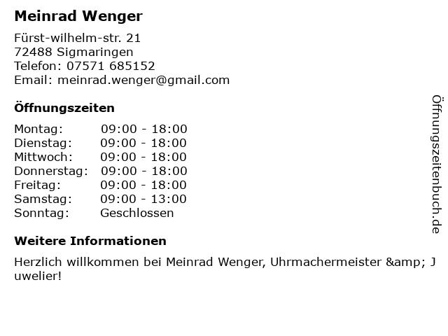 Meinrad Wenger in Sigmaringen: Adresse und Öffnungszeiten