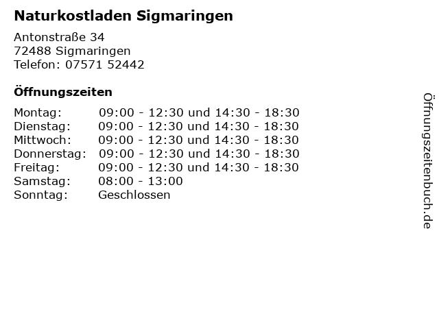 Naturkostladen Sigmaringen in Sigmaringen: Adresse und Öffnungszeiten