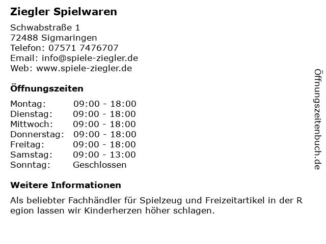 Papier- und Spielwaren Ziegler Inh. Judith Bräsicke in Sigmaringen: Adresse und Öffnungszeiten