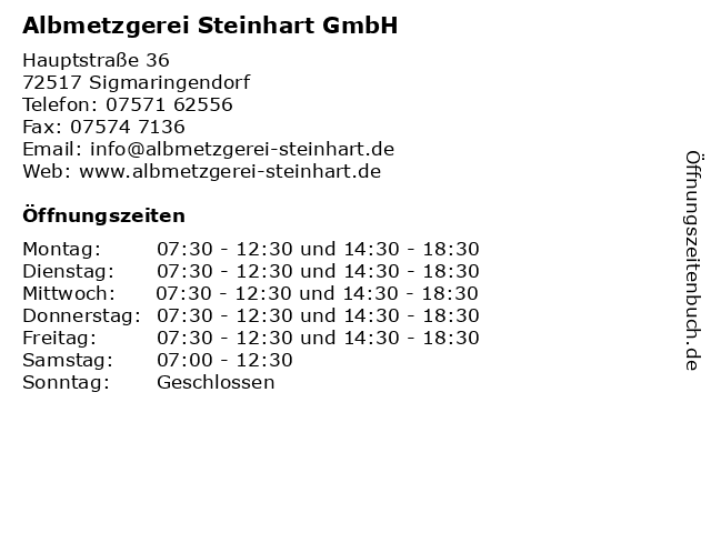 Albmetzgerei Steinhart GmbH in Sigmaringendorf: Adresse und Öffnungszeiten