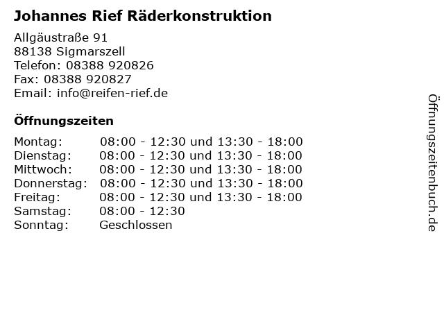Johannes Rief Räderkonstruktion in Sigmarszell: Adresse und Öffnungszeiten
