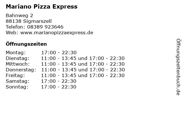 Mariano Pizza Express in Sigmarszell: Adresse und Öffnungszeiten