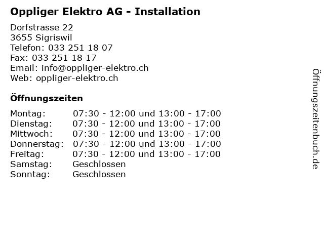 Oppliger Elektro AG - Installation in Sigriswil: Adresse und Öffnungszeiten