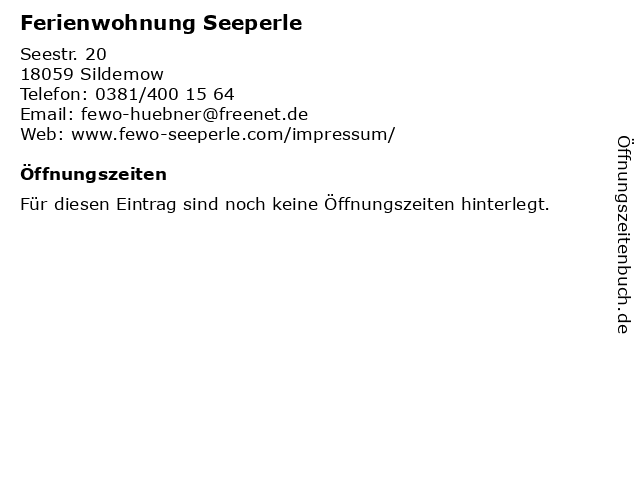 Ferienwohnung Seeperle in Sildemow: Adresse und Öffnungszeiten