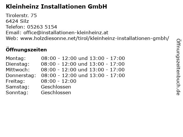 Kleinheinz Installationen GmbH in Silz: Adresse und Öffnungszeiten