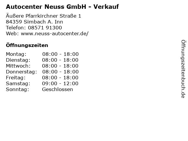 Autocenter Neuss GmbH - Verkauf in Simbach A. Inn: Adresse und Öffnungszeiten