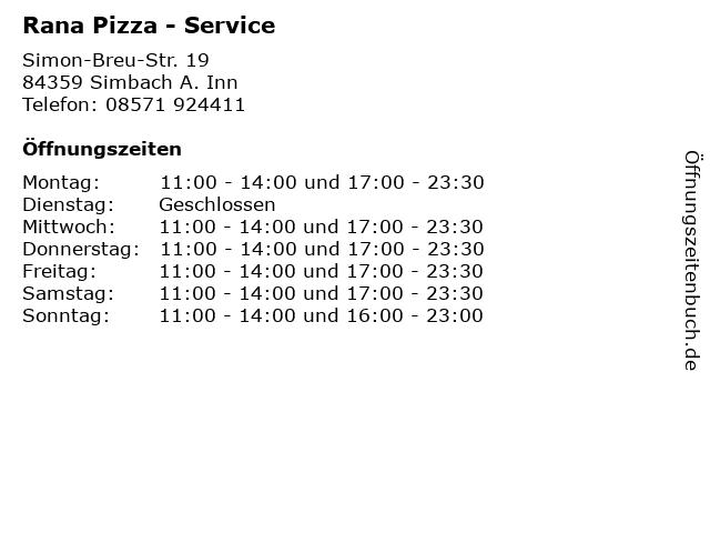 Rana Pizza - Service in Simbach A. Inn: Adresse und Öffnungszeiten