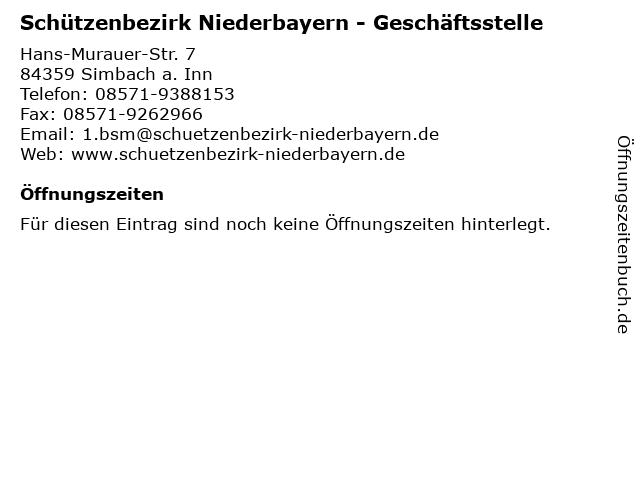 Schützenbezirk Niederbayern - Geschäftsstelle in Simbach a. Inn: Adresse und Öffnungszeiten