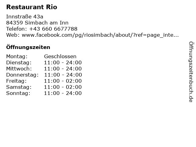 Restaurant Rio in Simbach am Inn: Adresse und Öffnungszeiten