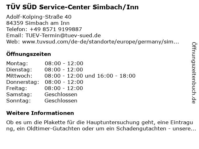 TÜV SÜD Service-Center Simbach/Inn in Simbach am Inn: Adresse und Öffnungszeiten