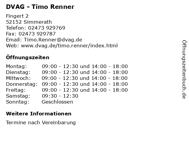 DVAG - Timo Renner in Simmerath: Adresse und Öffnungszeiten