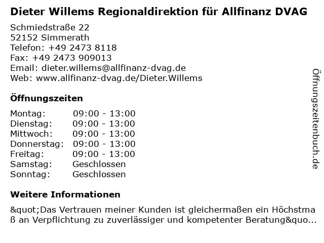 Dieter Willems Regionaldirektion für Allfinanz DVAG in Simmerath: Adresse und Öffnungszeiten