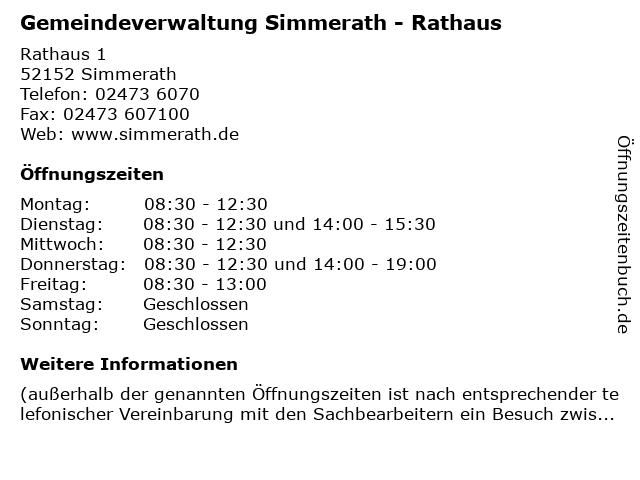 Gemeindeverwaltung Simmerath - Rathaus in Simmerath: Adresse und Öffnungszeiten