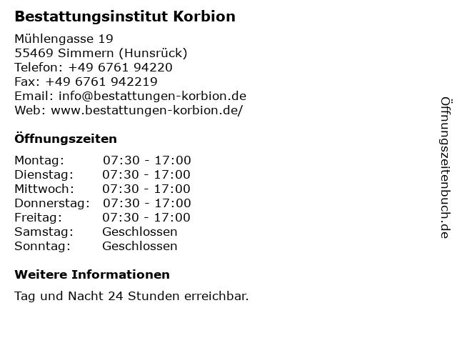 Hans-Peter Korbion in Simmern: Adresse und Öffnungszeiten
