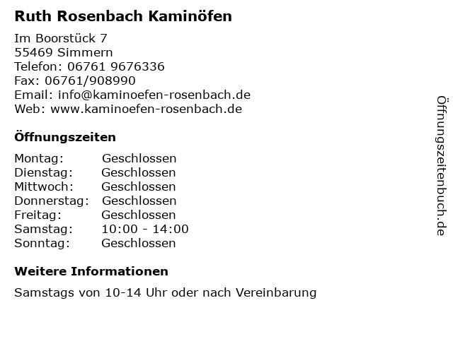Ruth Rosenbach Kaminöfen in Simmern: Adresse und Öffnungszeiten