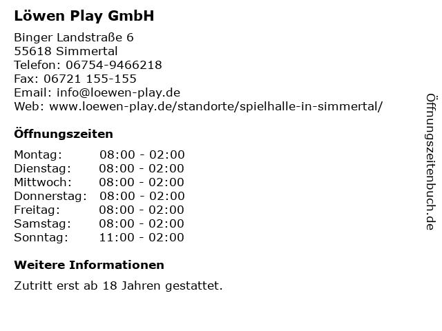 Löwen Play GmbH in Simmertal: Adresse und Öffnungszeiten
