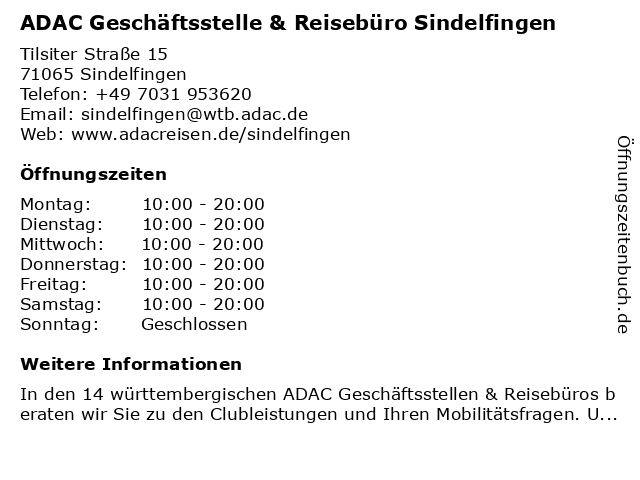 ADAC Geschäftsstelle & Reisebüro Sindelfingen in Sindelfingen: Adresse und Öffnungszeiten