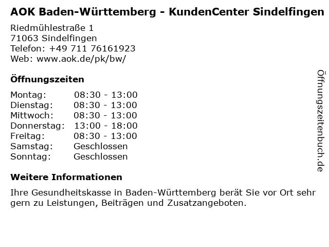 AOK Baden-Württemberg in Sindelfingen: Adresse und Öffnungszeiten