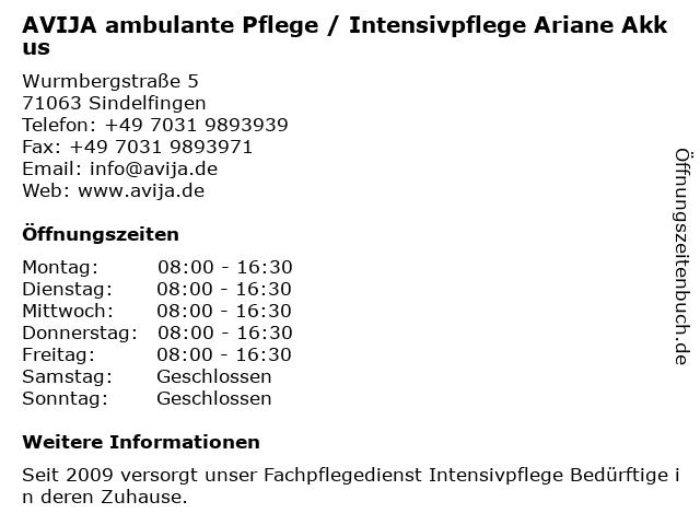 AVIJA ambulante Pflege / Intensivpflege Ariane Akkus in Sindelfingen: Adresse und Öffnungszeiten