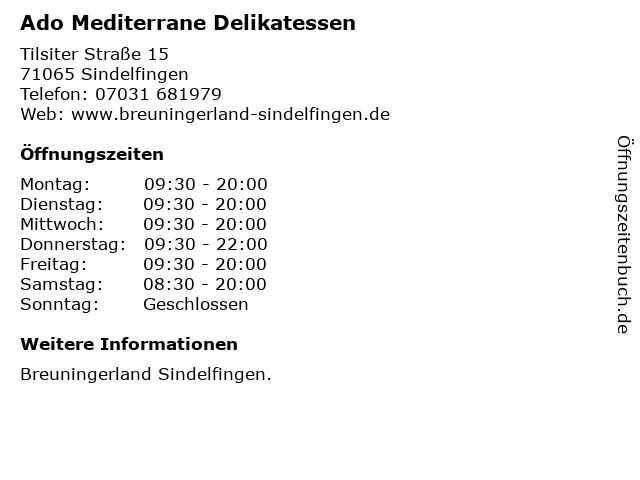 Ado Mediterrane Delikatessen in Sindelfingen: Adresse und Öffnungszeiten