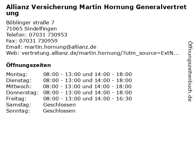 Allianz Versicherung Martin Hornung Generalvertretung in Sindelfingen: Adresse und Öffnungszeiten