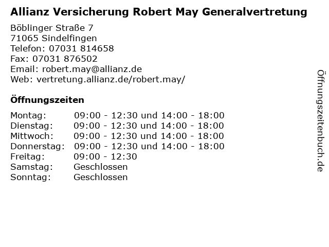 Allianz Vertretung May und Neitzel GbR in Sindelfingen: Adresse und Öffnungszeiten