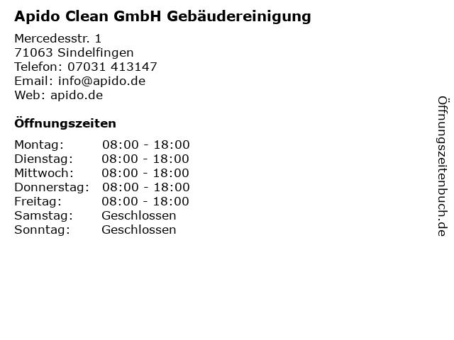 Apido Clean GmbH Gebäudereinigung in Sindelfingen: Adresse und Öffnungszeiten