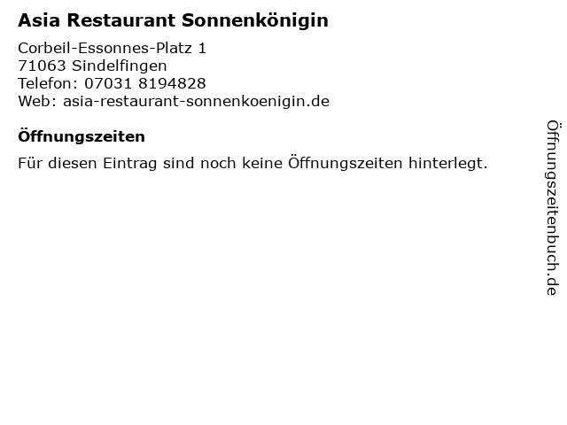 Asia Restaurant Sonnenkönigin in Sindelfingen: Adresse und Öffnungszeiten
