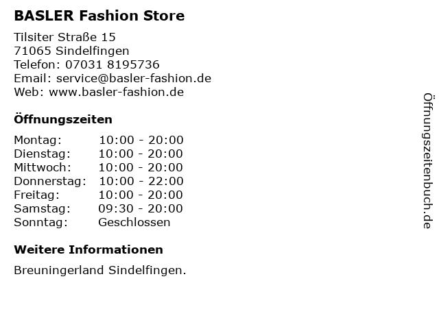BASLER Fashion Store in Sindelfingen: Adresse und Öffnungszeiten