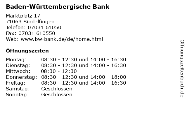 Baden-Württembergische Bank in Sindelfingen: Adresse und Öffnungszeiten