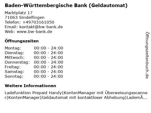 Baden-Württembergische Bank (Geldautomat) in Sindelfingen: Adresse und Öffnungszeiten