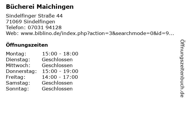Bücherei Maichingen in Sindelfingen: Adresse und Öffnungszeiten
