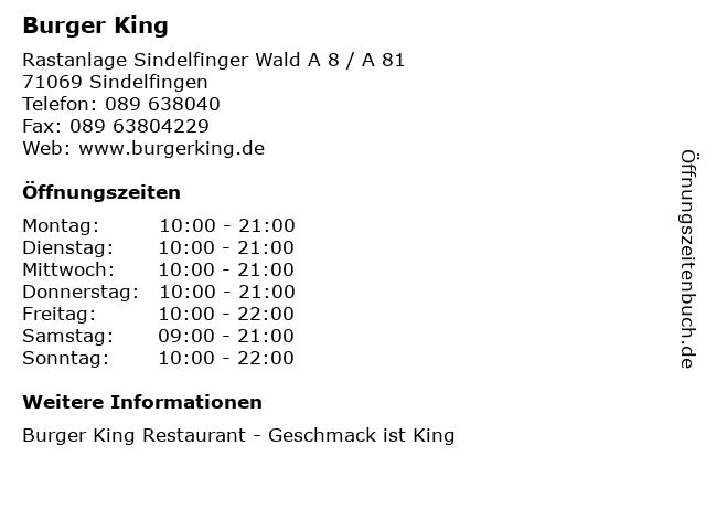 Burger King in Sindelfingen: Adresse und Öffnungszeiten