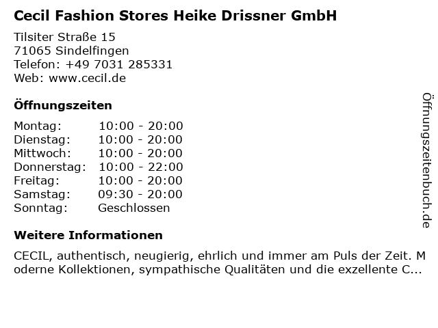 Cecil Fashion Stores Heike Drissner GmbH in Sindelfingen: Adresse und Öffnungszeiten