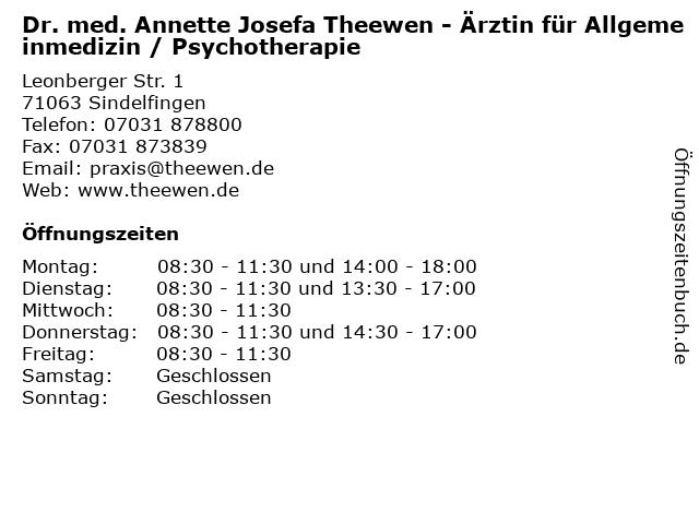 Dr. med. Annette Theewen in Sindelfingen: Adresse und Öffnungszeiten
