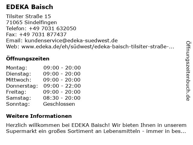 EDEKA Baisch in Sindelfingen: Adresse und Öffnungszeiten