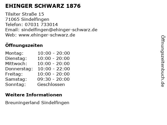 EHINGER SCHWARZ 1876 in Sindelfingen: Adresse und Öffnungszeiten