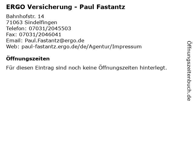 ERGO Versicherung - Paul Fastantz in Sindelfingen: Adresse und Öffnungszeiten