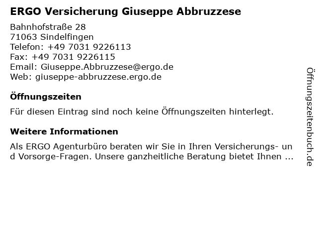 ERGO Versicherung Giuseppe Abbruzzese in Sindelfingen: Adresse und Öffnungszeiten