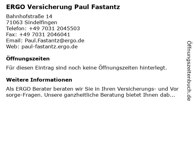 ERGO Versicherung Paul Fastantz in Sindelfingen: Adresse und Öffnungszeiten