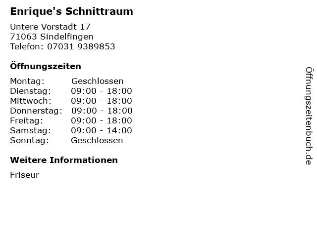 Enrique's Schnittraum in Sindelfingen: Adresse und Öffnungszeiten