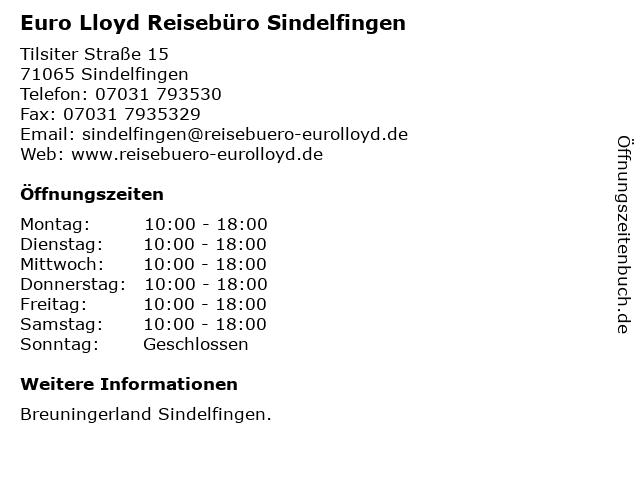 Euro Lloyd Reisebüro Sindelfingen in Sindelfingen: Adresse und Öffnungszeiten
