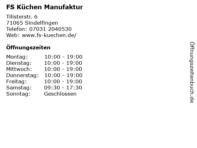 ᐅ Offnungszeiten Fs Kuchen Manufaktur Tilisterstr 6 In
