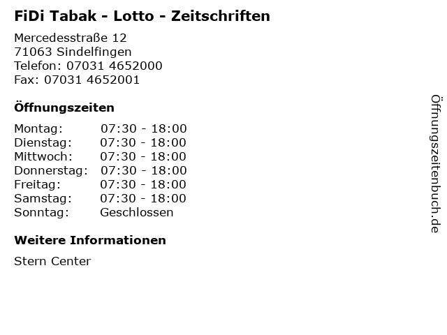 FiDi Tabak - Lotto - Zeitschriften in Sindelfingen: Adresse und Öffnungszeiten