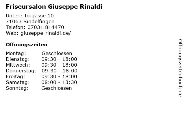 Friseursalon Giuseppe Rinaldi in Sindelfingen: Adresse und Öffnungszeiten