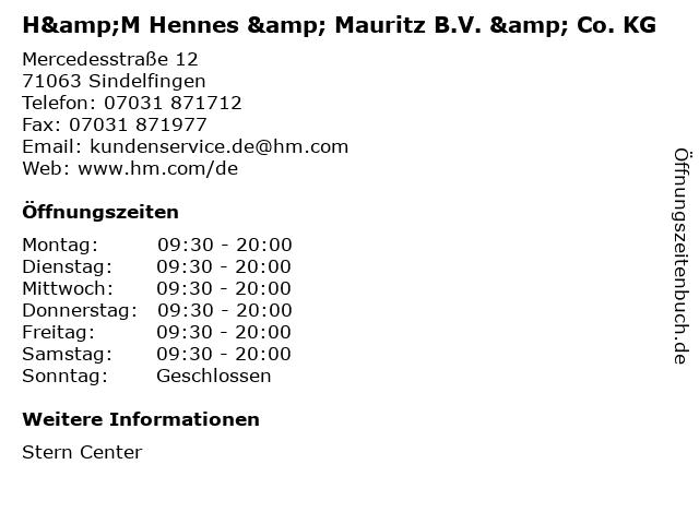H&M Hennes & Mauritz B.V. & Co. KG in Sindelfingen: Adresse und Öffnungszeiten