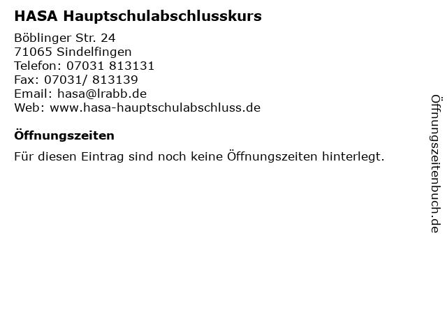 HASA Hauptschulabschlusskurs in Sindelfingen: Adresse und Öffnungszeiten